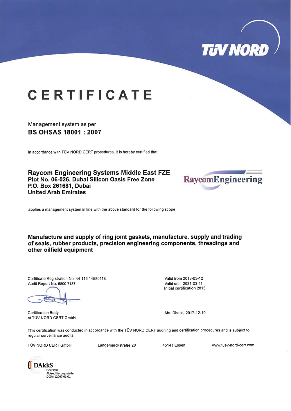 OHSAS Certified